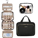 Toiletry Bag, Bagsmart Hanging Travel Makeup Organizer with TSA Approved, Transparent Cosmetic Bag Makeup Bag for Full Sized