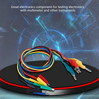 Akozon Banana Test Cable 5pcs P1037 Electronic Test Leads Kit High Voltage 1m 4mm Banana Plug To Crocodile Clip Cable Test Lead Extension Cable Multimeter Test Cable Set Beleuchtung