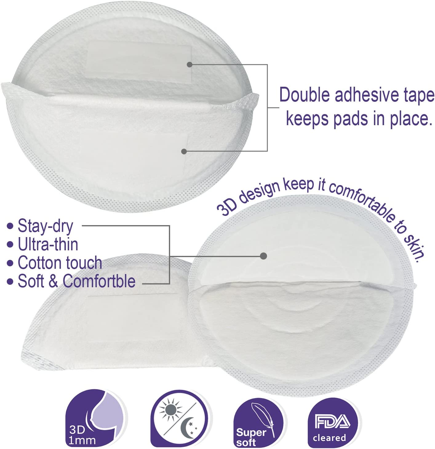Healifty 2PCS Hot-Cold Breastcare Therapy Gel Bead Ice Packs reduce nipple pain engorgement and blocked breast ducts Purple