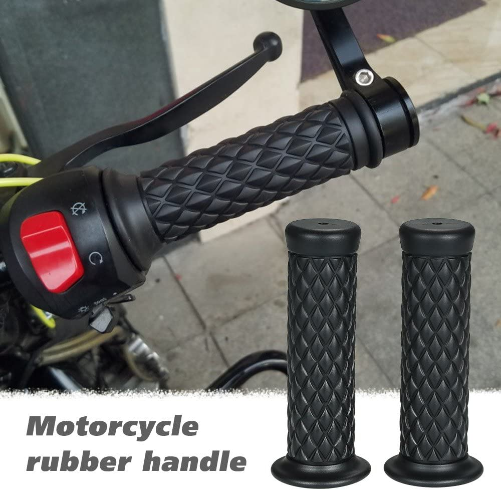 KKmoon Motorcycle Handle Grips Universal 7//8 22mm Vintage Rubber Coffee Motorbike Handlebar Grips 4 Colors Available