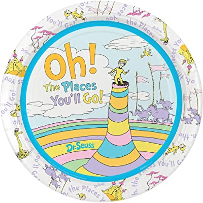 "Birthday Express Dr. Seuss Oh The Places You'll Go 9"" Dinner Plates, Set of 8: Toys & Games"