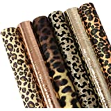 "David Angie Leopard Printed Faux Leather Sheet Metallic Burst Crack Synthetic Leather Fabric Assorted 6 PCS 7.9"" x 13.4…"
