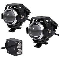 Justech 2X Faros de Motocicleta Luces de Niebla para Luces de Delantera de Motocicleta de DRL CREE U5 con el Interruptor…
