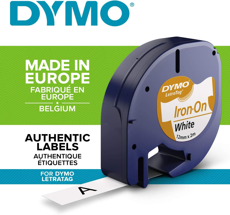 Dymo®  Beschriftungsband  Letra Tag®   Iron-On  zum Aufbügeln  weiß  12mm breit