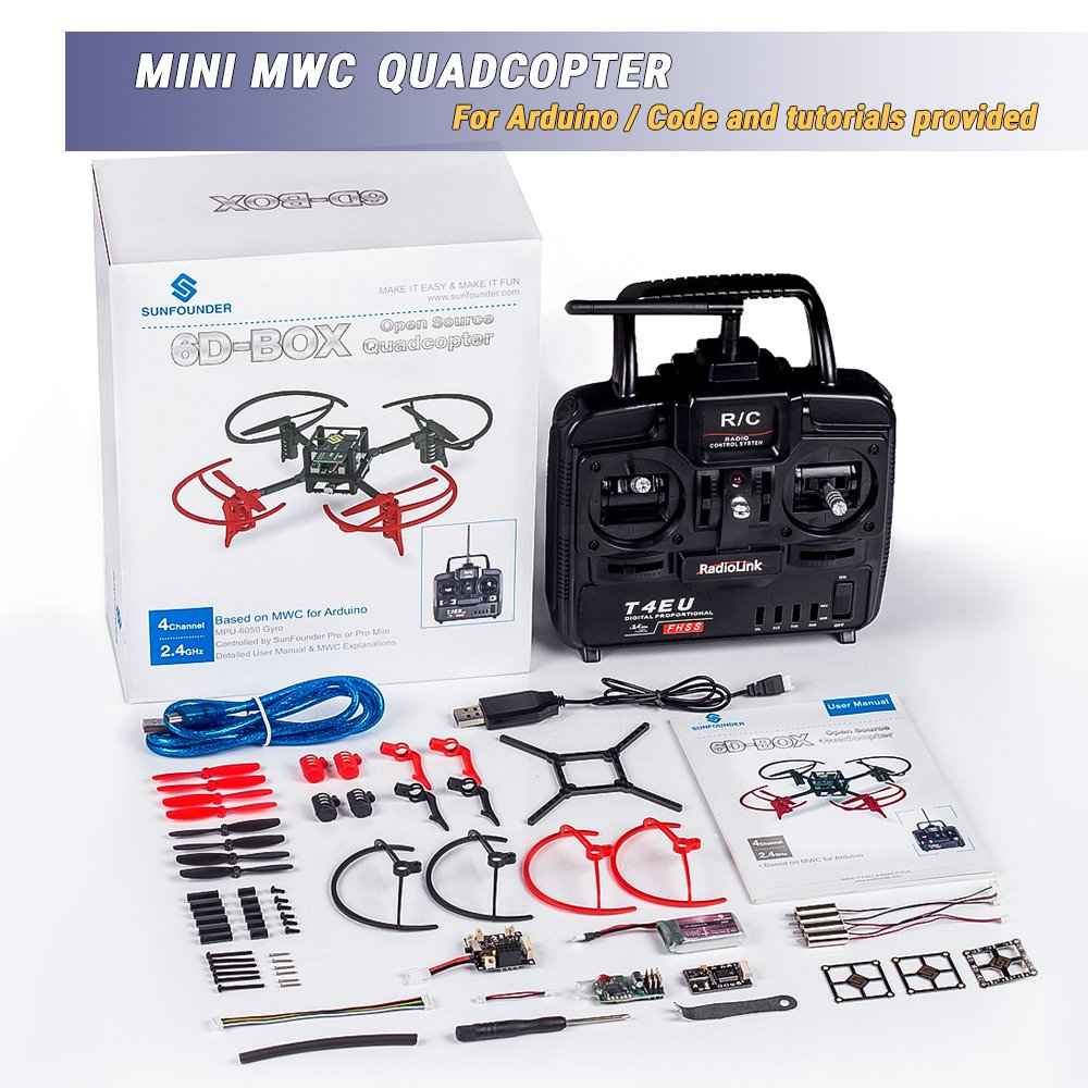 SunFounder RC Drone Quadcopter Kit 6 Axis MWC Multiwii Flight Controller 6D-Box Fernbedienung Drohne Zubehör Basteln Anfänger DIY Starter Kit für Arduino+2.4GHz 4-Kanal RC, 6-Achsen Gyro+ Ausführliche Anleitung