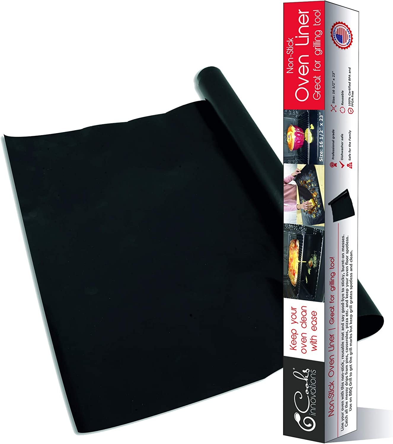 Cooks Innovations SET OF 2 - MADE IN USA Black Non-Stick Oven Liner 16.5x23