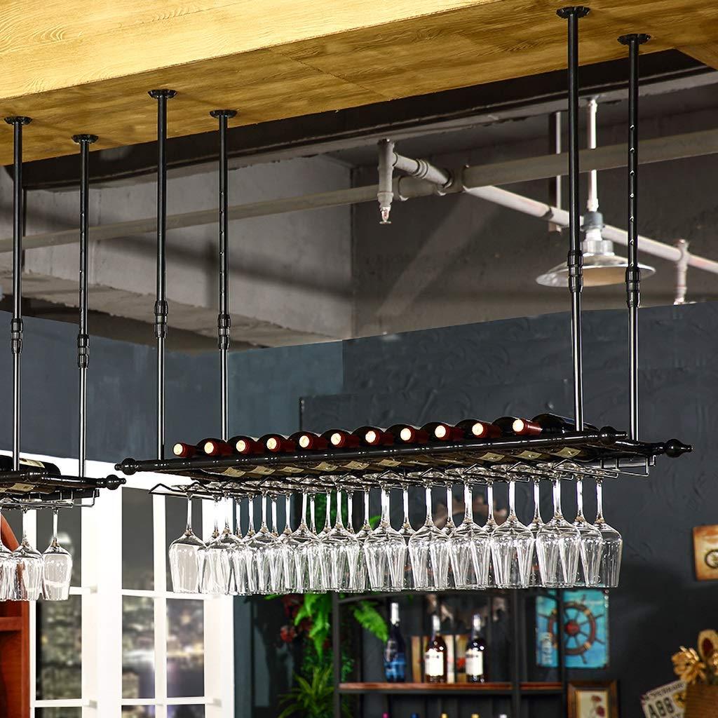 JHGJBJ Estantería de Vino Estantería de Vidrio para Vino Vino Vino Suspensión de la suspensión Copa de Vidrio Copa Porta Copa (Color : Negro, Tamaño : 120   30cm) 62d26a