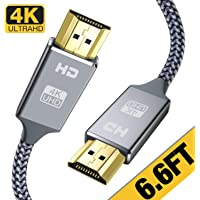 Capshi 6-Foot Nylon-Braided HDMI 2.0 Cable (Grey)