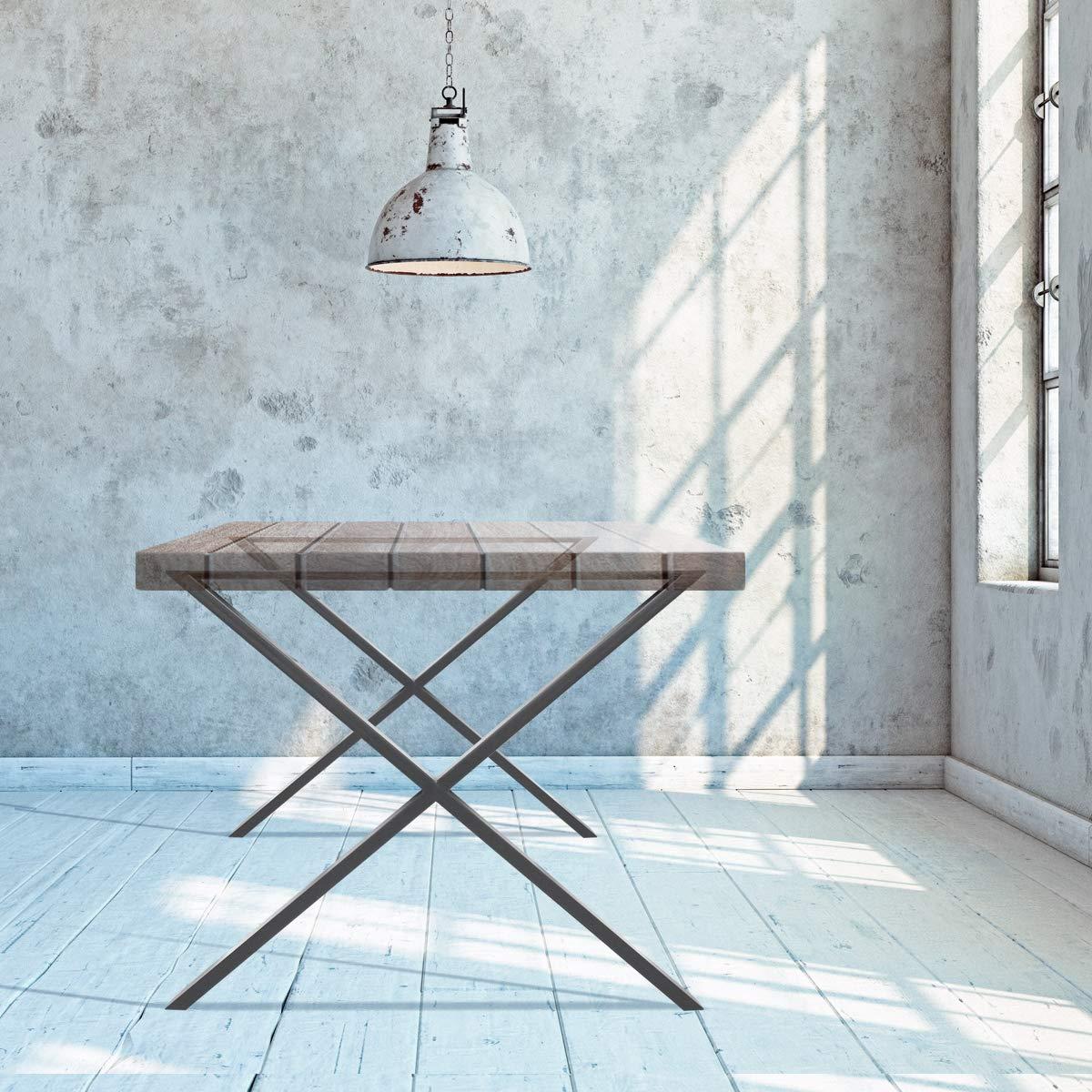 Industriedesign 60 x 72 cm Tischuntergestell Tischbeine Set Tischkufen Tischf/ü/ße Dunkelgrau ECD Germany 2 St/ück Tischgestell aus pulverbeschichteter Stahl