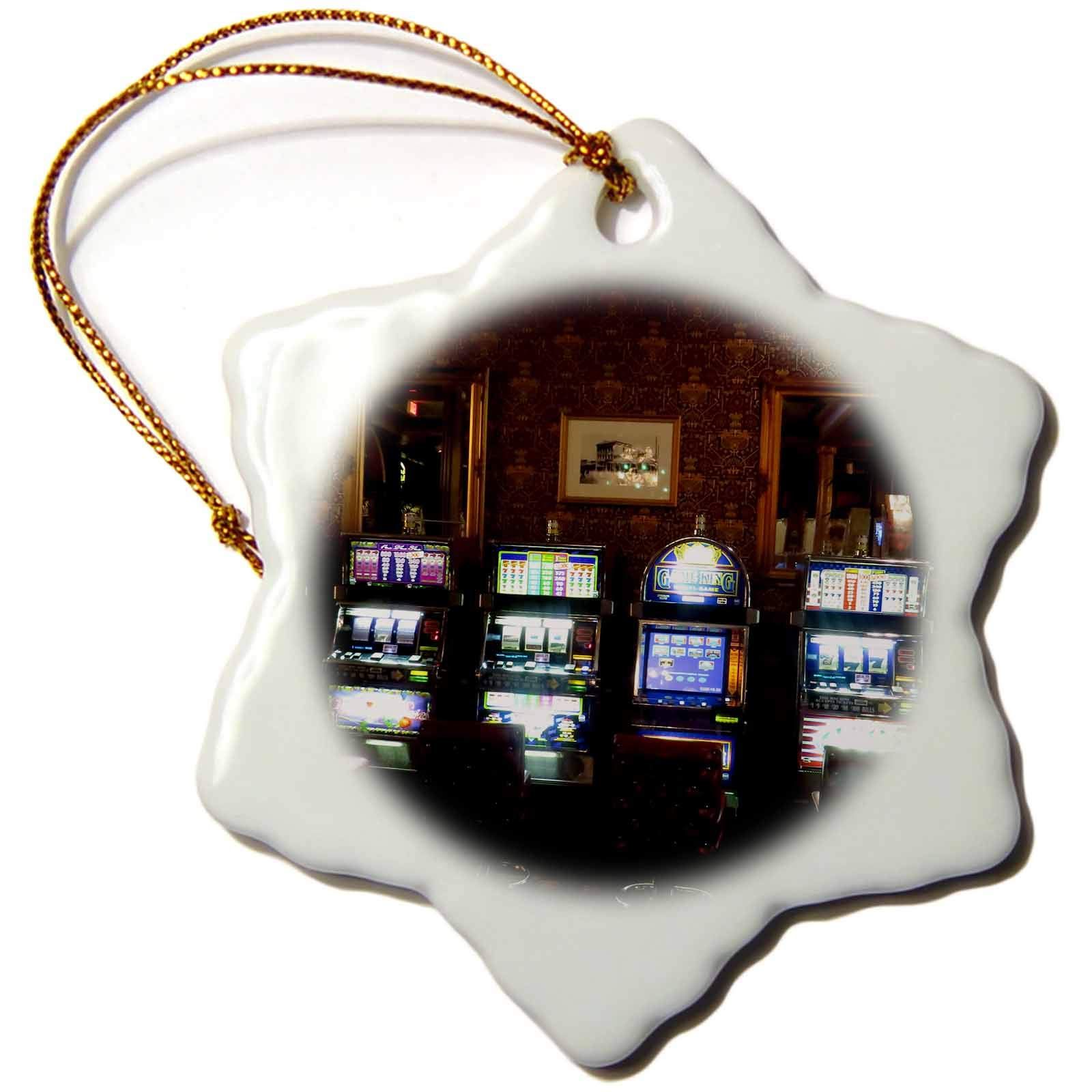 3dRose Jos Fauxtographee- Mizpah Casino - A Casino Inside The First Floor at The Mizpah Hotel with Slot Machines - 3 inch Snowflake Porcelain Ornament (ORN_291366_1)