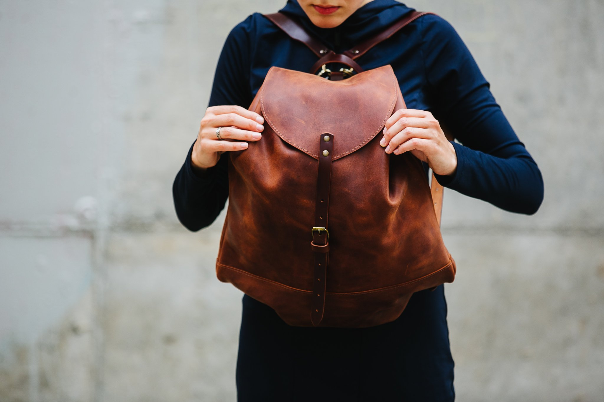 Leather backpack Woman backpack Ladies backpack Women's daily pack Cognac brown leather backpack Small backpack Women's gift