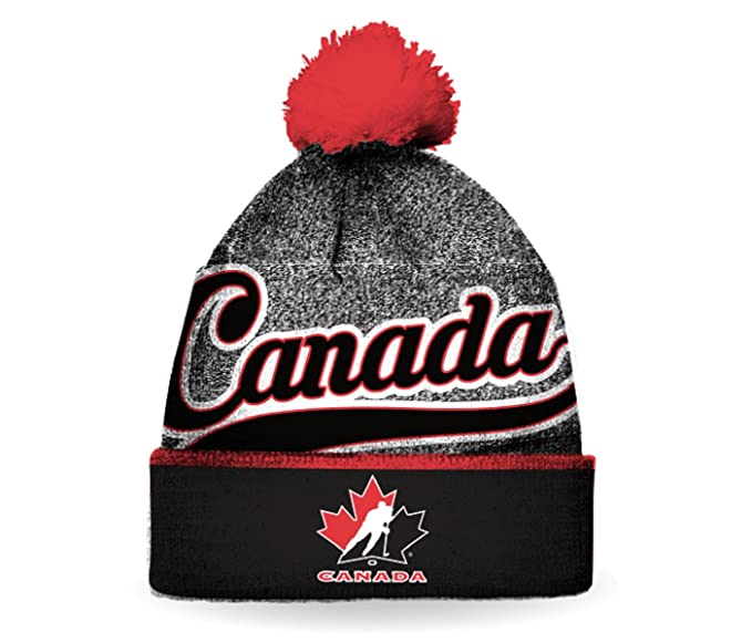 Team Canada Hockey Men s 2017 Pom Pom Hat   Beanie (Multi)  Amazon ... 5a273639ad3