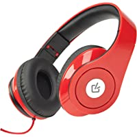 Overtime DDJ1000RD Sonic Wave Foldable DJ Headphones with Mic Wired, Headset, Red 3.5mm