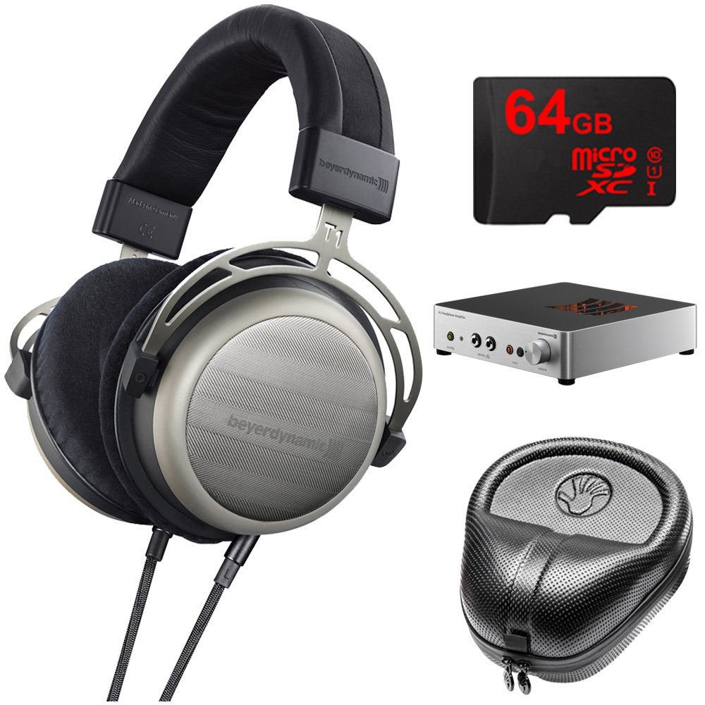 BeyerDynamic T1 Second Generation Audiophile Stereo Headphone 718998 w/ Amp Bundle Includes, BeyerDynamic A2 Headphone Amplifier, Slappa Headphone Case, Sony 64GB micro SDXC Class 10 Memory Card