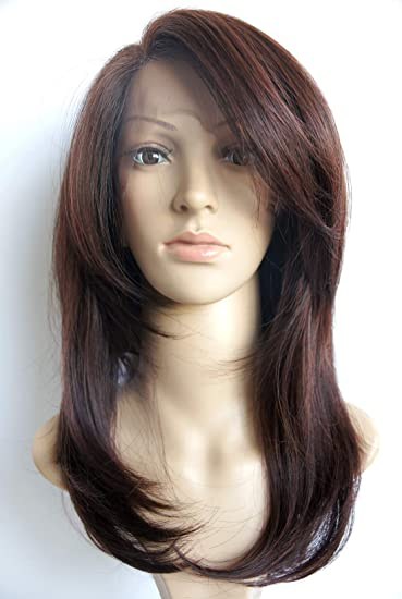 Half Hand Tied Lace Layered Shoulder Length Lace Front Dark Brown Synthetic Hair Fiber Highlight