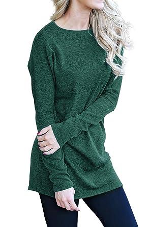 l'atteggiamento migliore 8fd9c 35b65 Maglietta Lunga Donna per Leggings Pullover Vestito Scollo a Barca ...