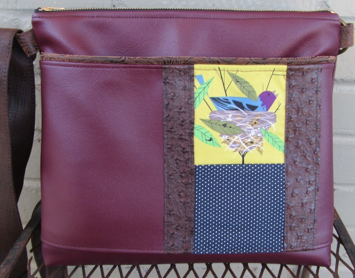 Crossbody Bag Large - Charley Harper Nest Bird Architects Messenger Bag in Burgundy Vegan Leather