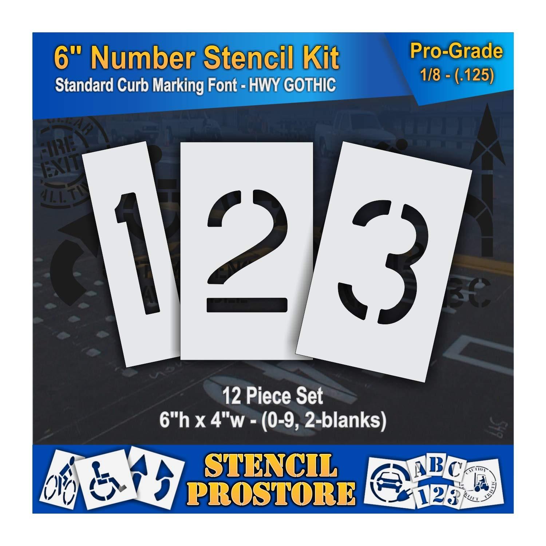 Curb and Median Stencils - 6 inch Number KIT Stencil Set - (12 Piece) - 6'' x 4'' x 1/8'' (128 mil) - Pro-Grade by Stencil ProStore