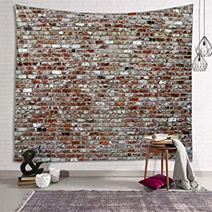 Sevendec Brick Wall Tapestry Red Stone Tapestry Wall Hanging Vintage Tapestry Polyester Print for Livingroom Bedroom Home Dorm Decor W90