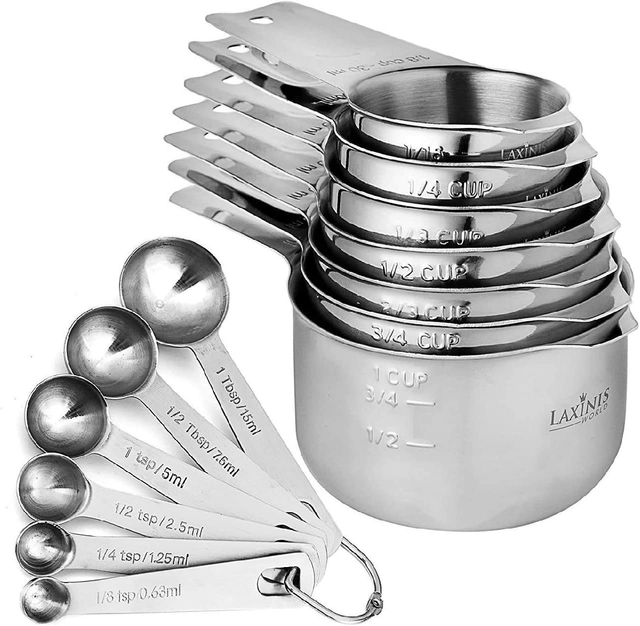 Spout and Stackable Spoons Container Measuring Cup for Measuring Tea Coffee Measuring Cup and Spoon Set Kitchen Utensil 7Pcs//Set Kitchen Measuring Set