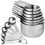 13 Piece Measuring Cups and Measuring Spoons Set, Stainless Steel 7 Measuring Cups and 6 Measuring Spoons, Stackable, By…