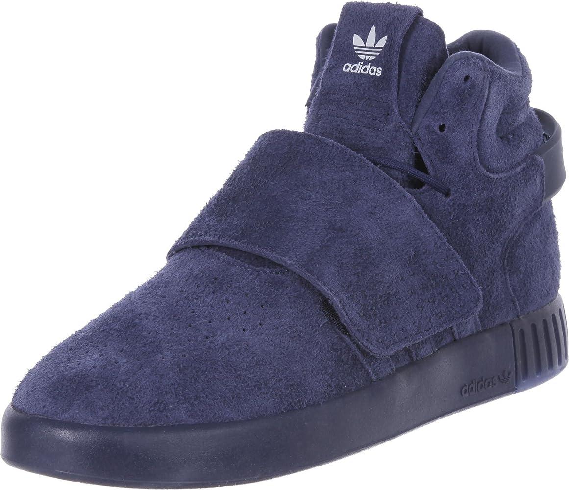 primero Carretilla General  adidas Originals Tubular Invader Strap Men Suede Sneakers Hi Top Shoes Blue