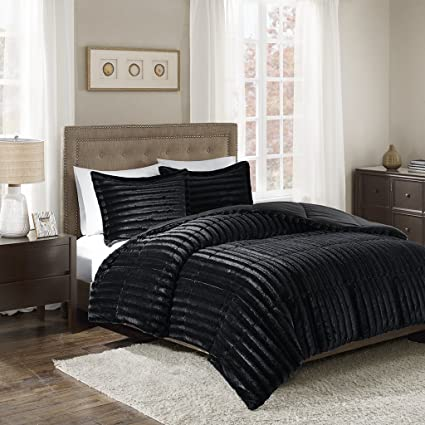 Amazon Com Madison Park Duke Faux Fur 3 Piece Comforter Set Black