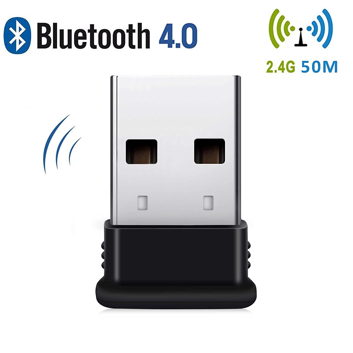 Bluetooth USB Adapter, 4 0 USB Bluetooth Dongle for desktop,Windows 10/  8 1/ 8, Vista and XP, Devices with 2 4Ghz range by KEY IDEA