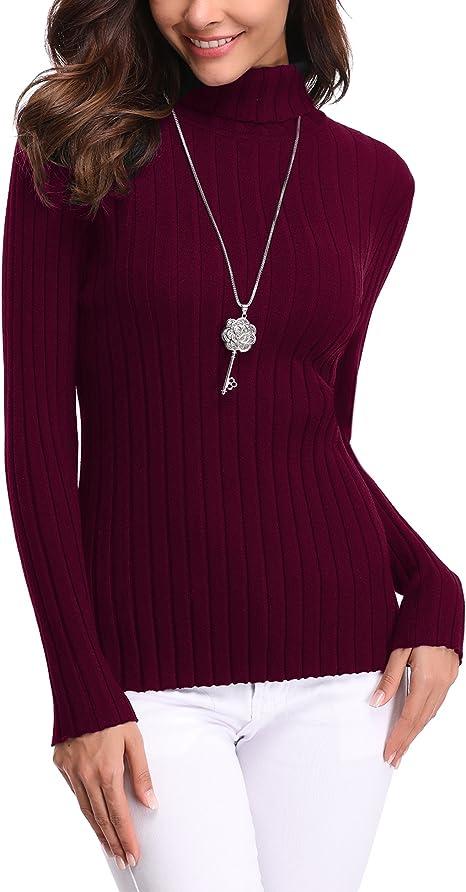 Abollria Maglione Donna Elegante a Collo Alto e Maniche Lunghe Pullover Maglioncino Dolcevita Maglia a Maglieria Elasticizzata per Inverno