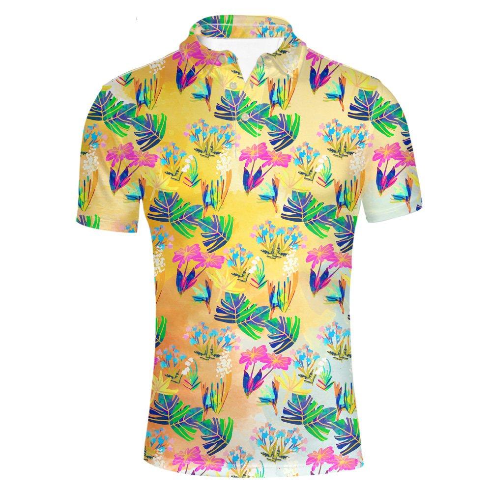 HUGS IDEA Men's Hawaiian T-Shirt Classic Golf Polosshirt Casual Summer Aloha Shirt Short Sleeve