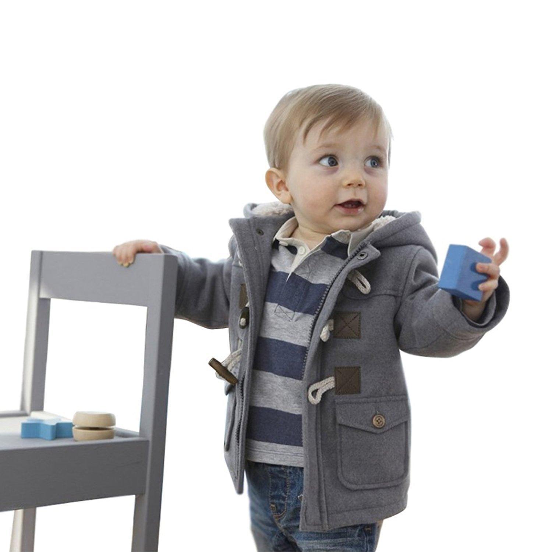 Lewego Unisex Baby Fleece Hooded Jacket Outerwear Duffle Zipper Winter Coat, Grey, 80cm(3-9Months)