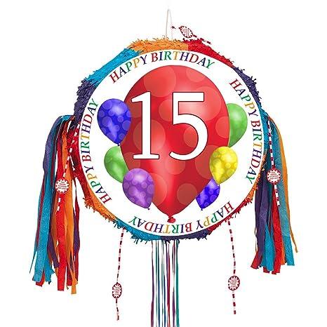 Amazon.com: 15th globo de cumpleaños Blast Pull Piñata (cada ...