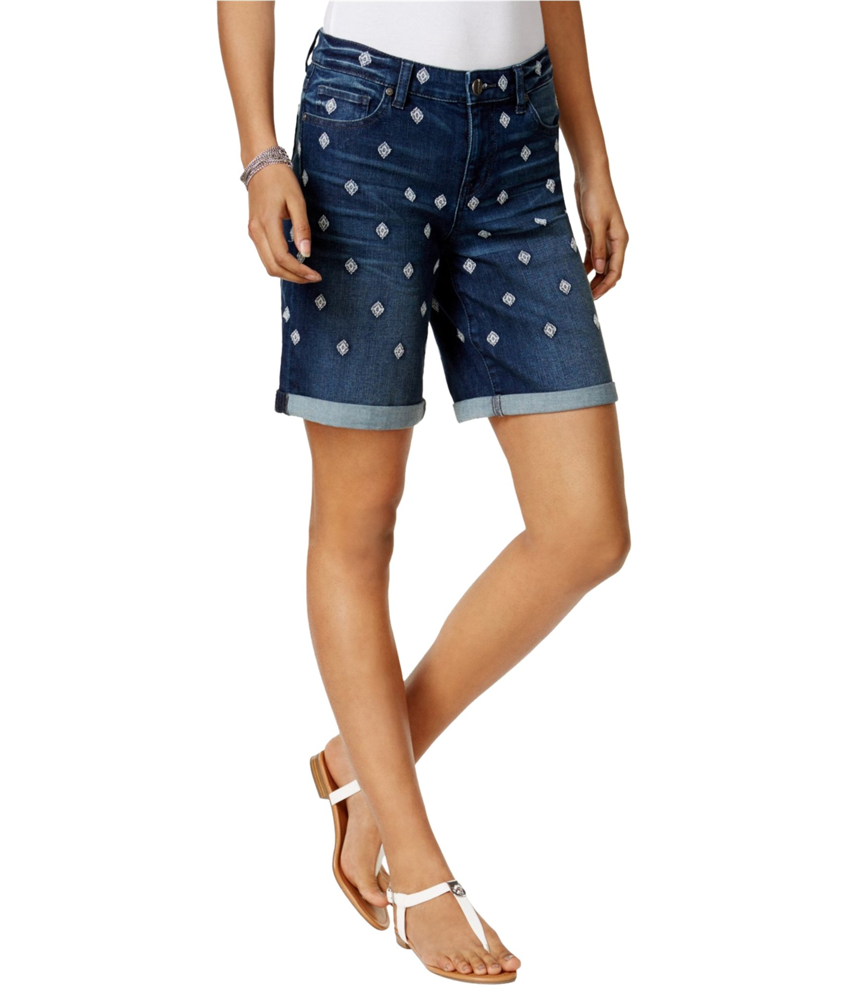 Style & Co.. Womens Embroidered Cuffed Denim Shorts Blue 4