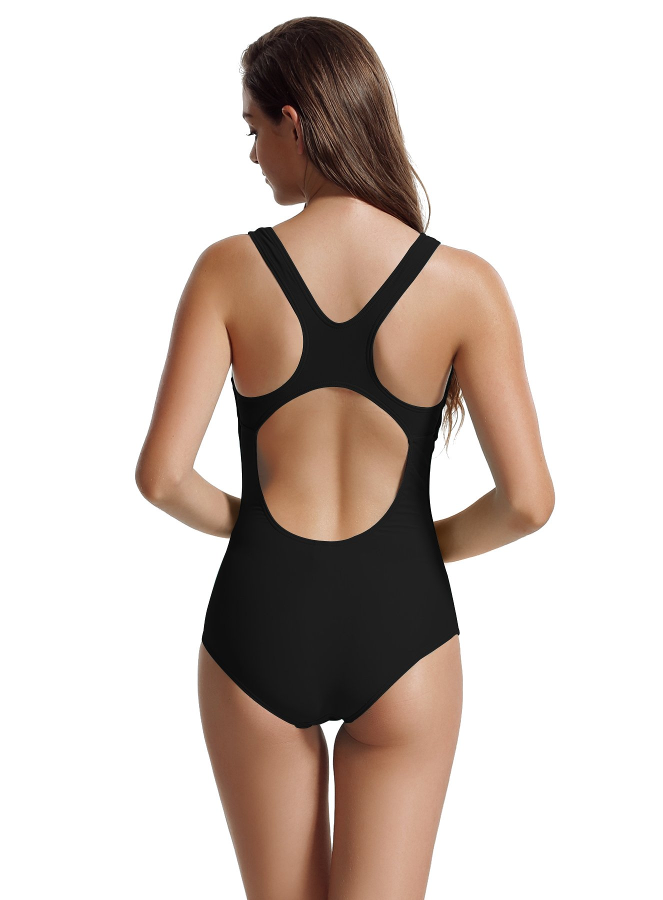 zeraca Women's Sport Racerback One Piece Swimsuits (M10, Black) by zeraca (Image #4)