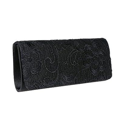 Damen Clutch Satin Handtasche Brauttasche Elegante Abendtasche schwarz