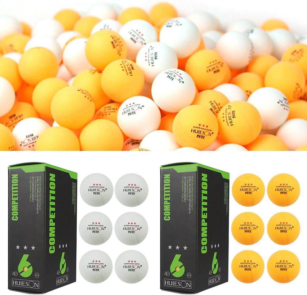 Rikey 6 Piezas de Bolas de Ping-Pong de 3 Estrellas, 40 mm / 1.57 Pulgadas de diámetro 2.9 g Pelota de Tenis de Mesa para Entrenamiento de competición (2 Caja (6 pc/Caja))