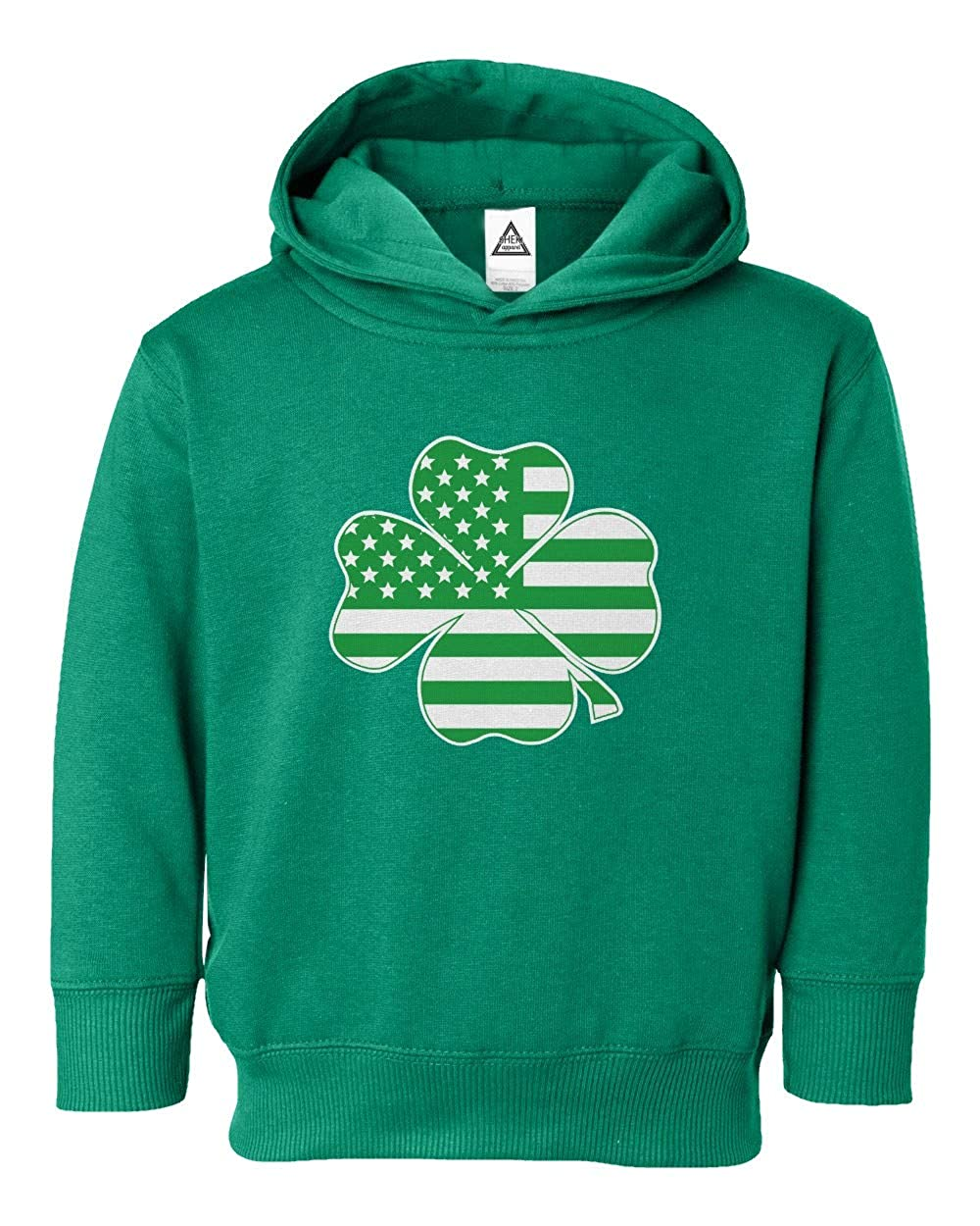Sheki Apparel Irish American Flag Vintage Shamrock St Patricks Day Toddler Hooded Sweatshirt