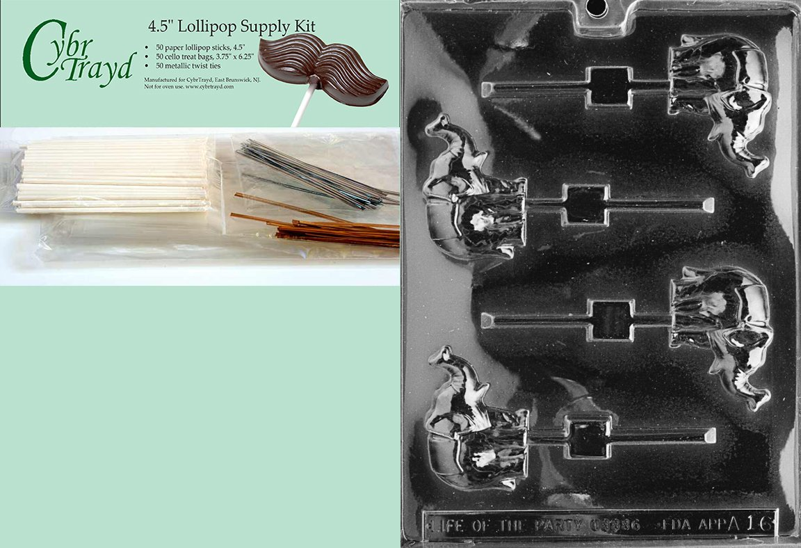 Cybrtrayd 45StK50-A016 Elephant Lolly Animal Chocolate Candy Mold with Lollipop Supply Kit