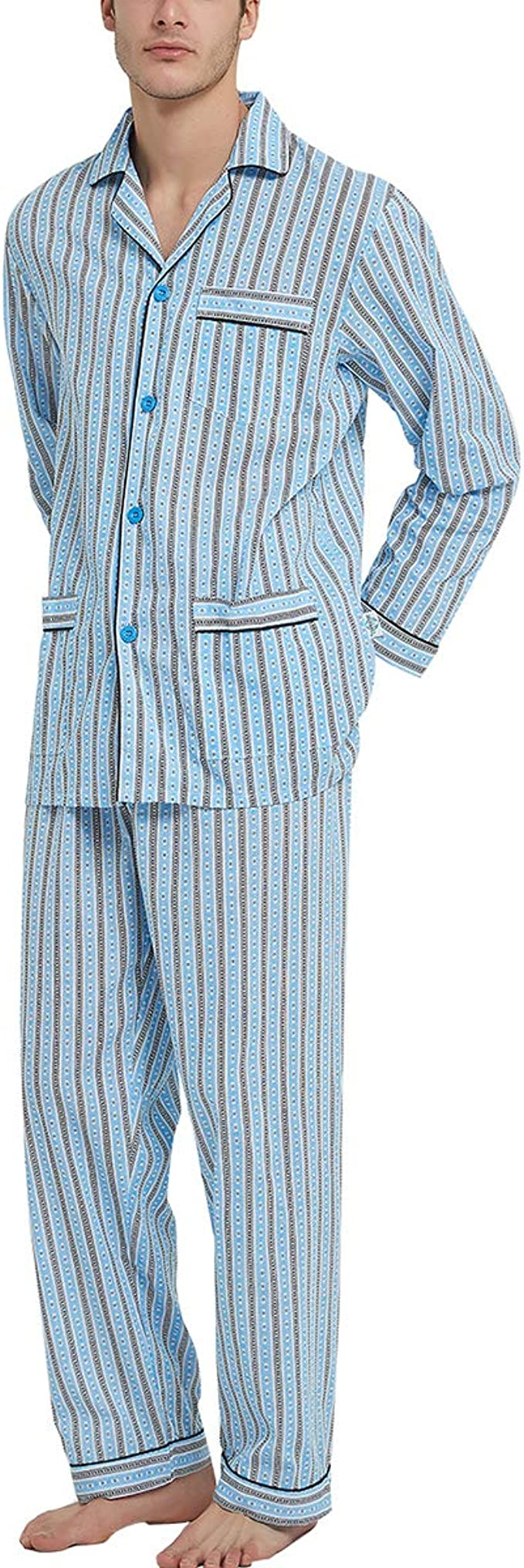 Nicelly Mens Warm Autumn 2 Piece Set Stripes Printed Pajama Lounge Set