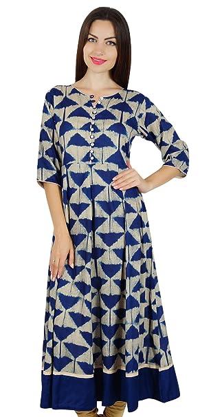 Bimba Womens Designer Long Anarkali Kurta Kurti 34 Sleeves Classic Blue Dress Indian Fashion Clothing