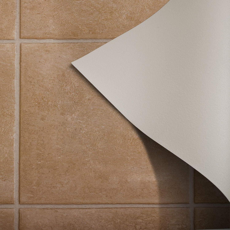 200x100cm Meterware casa pura/® CV Bodenbelag Malaga edle Fliesenoptik Beige Oberfl/äche strukturiert