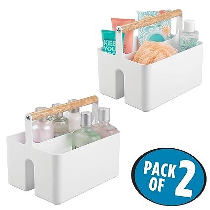 mDesign Juego de 2 Cajas organizadoras para baño – Cajas de plástico con asa de Madera