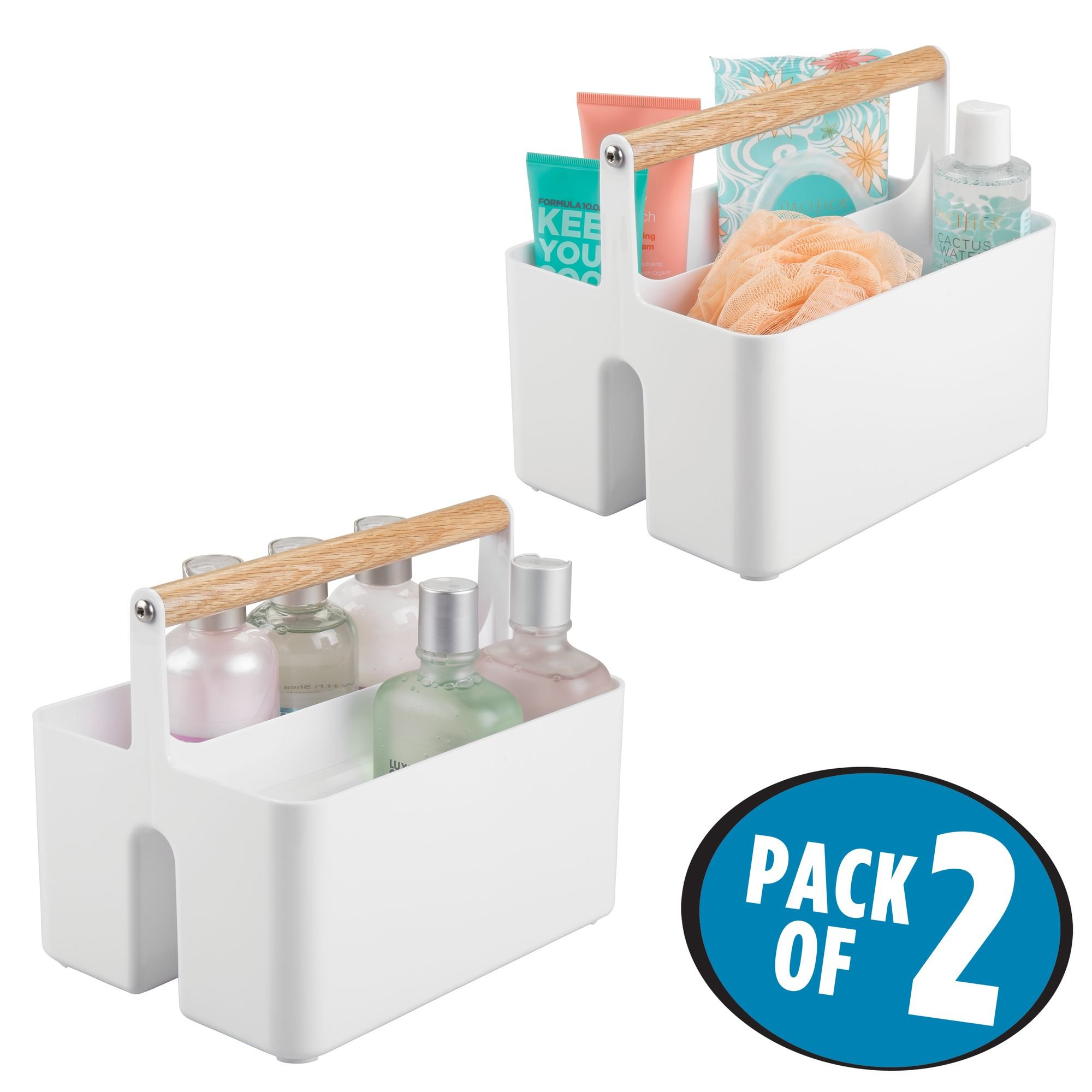 mDesign Bathroom Storage Organizer Caddy Tote, Divided Basket Bin with Natural Wood Handle - BPA Free, 2 Sections for Hand Soap, Body Wash, Shampoo, Conditioner, Lotion - Pack of 2, White/Natural