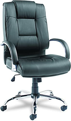 Alera Ravino Series High-Back Swivel Tilt Leather Chair, Black
