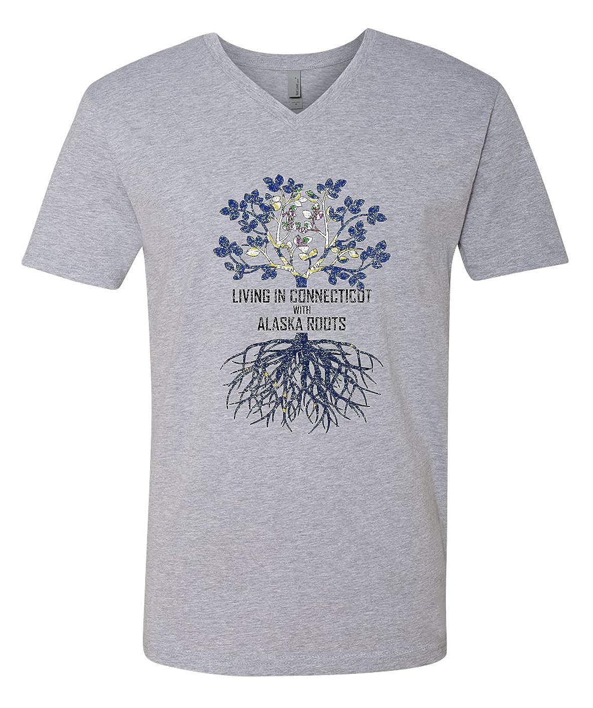 Tenacitee Mens Living in Connecticut Alaska Roots T-Shirt