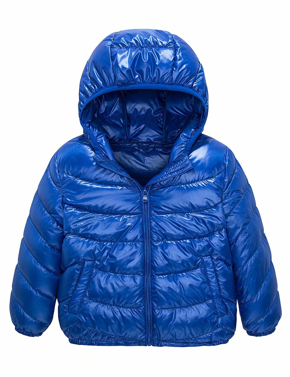 Spring&Gege Boys' Quilted Packable Hoodie Lightweight Puffer Jacket Windproof Outwear Children Warm Duck Down Coat for Boys and Girls Size 18-24 Months Blue