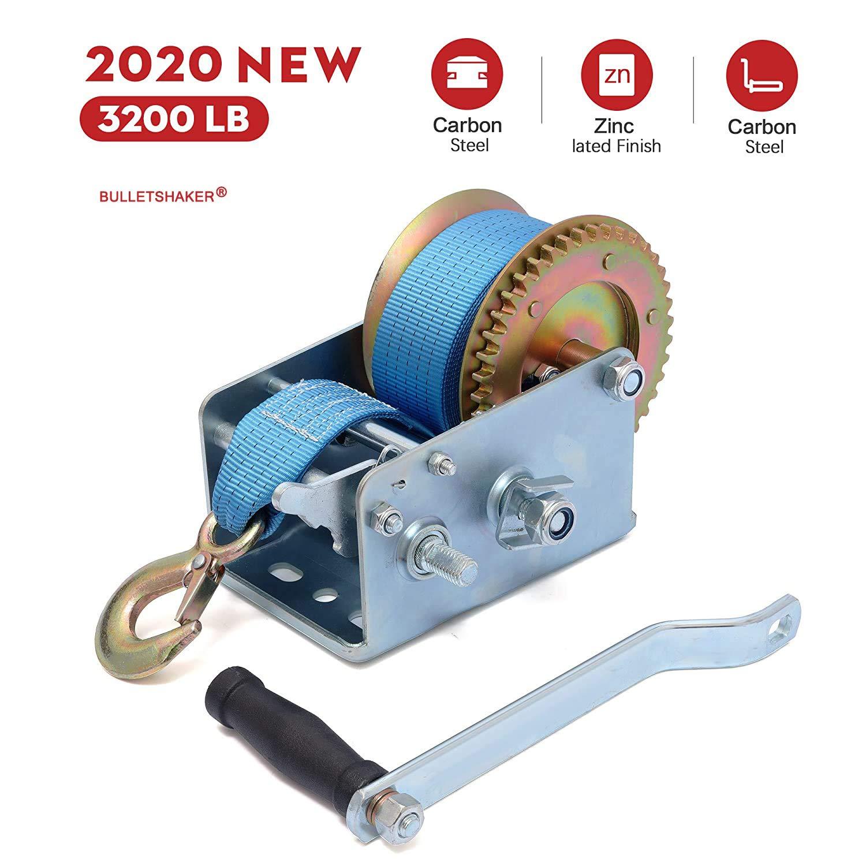 BULLETSHAKER 3200LBS Polyester Strap 2 Gear Hand Winch Hand Crank Gear Winch ATV Boat Trailer