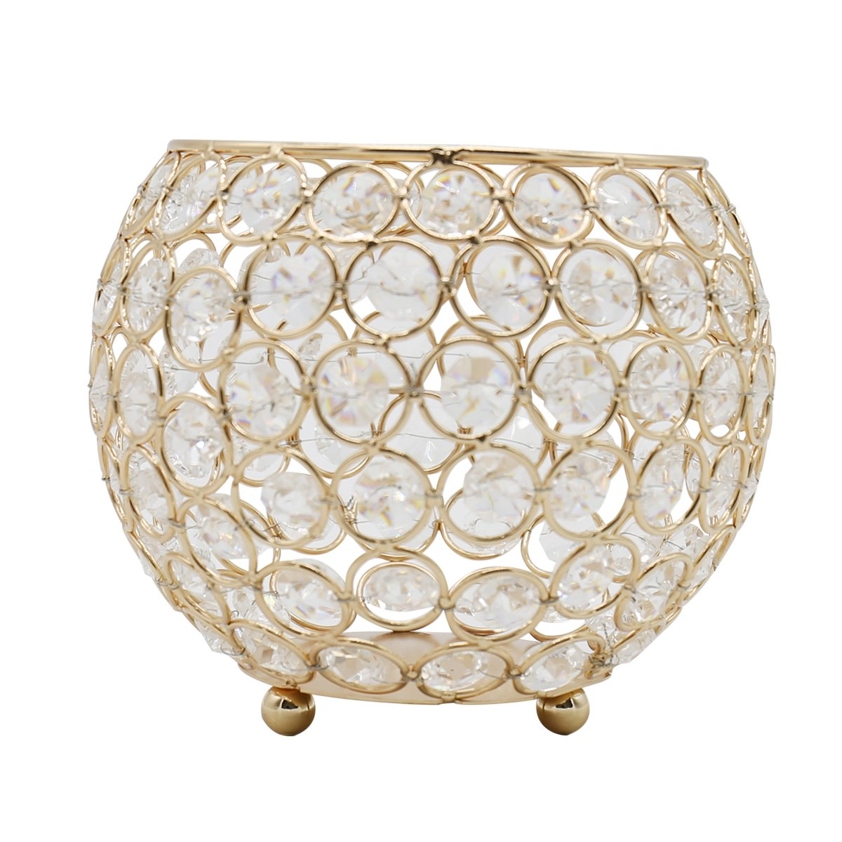 Joynest Crystal Tea Light Candle Lantern Holders, Wedding Coffee Table Decorative Centerpieces for Home Décor Party Mothers Day Birthday House Gifts (6'', Gold) by Joynest