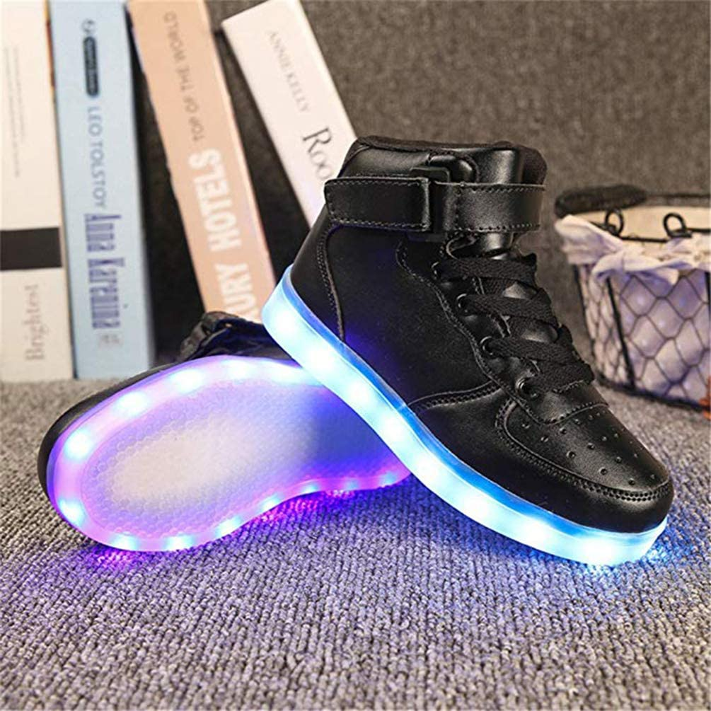 Coolloog Kids High Top LED Light Up 11 Colors USB Charging Flashing Sneakers for Boys Girls Boots Walking Shoes