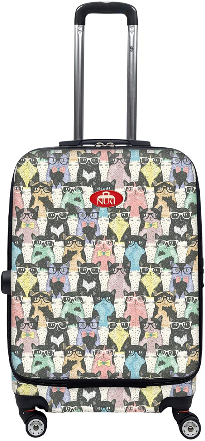 NUKI Front Accessible Luggage Lightweight Spinner 20 Hipster Cats